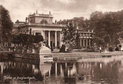 Oryginalna grafika w technice światłodruku z początku XX w. przedstawiająca klasycystyczny pałac w Łazienkach w Warszawie. Grafika pochodzi z 1914 roku.