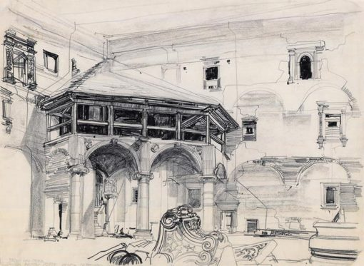 Grafika przedstawiająca Brzeg nad Odrą - Zamek Piastów