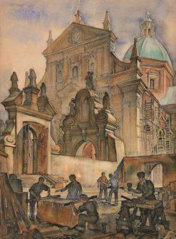 Grafika przedstawiająca robotników przy kościele Św. Piotra i Pawła w Krakowie