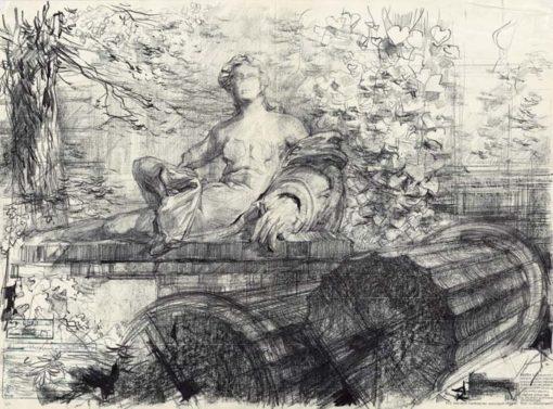 Grafika przedstawiająca rzeźbę alegoryczną na dziedzińcu Wydziału Architektury Politechniki Warszawskiej