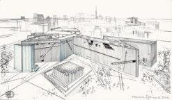 Grafika przedstawiająca Muzeum Żydowskie w Berlinie z panorama miasta w tle