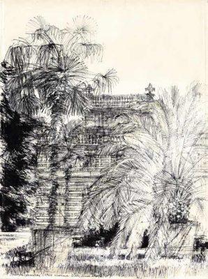 Grafika przedstawiająca Biały Domek w Łazienkach w Warszawie wykonana w limitowanej edycji w formacie oryginalnym w technice giclée na podstawie rysunku artysty: HENRYK DĄBROWSKI