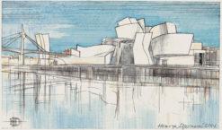 Grafika przedstawiająca Muzeum Guggenheima w Bilbao wykonana w limitowanej edycji w formacie oryginalnym w technice giclée na podstawie rysunku artysty: HENRYK DĄBROWSKI