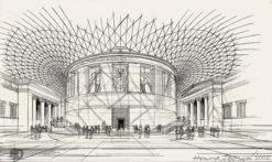 Grafika przedstawiająca wielki dziedziniec British Museum w Londynie wykonana w limitowanej edycji w zmniejszonym formacie w technice giclée na podstawie rysunku artysty: HENRYK DĄBROWSKI