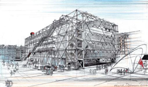 Grafika przedstawiająca Centrum Pompidou w Paryżu wykonana w limitowanej edycji w formacie oryginalnym w technice giclée na podstawie rysunku artysty: HENRYK DĄBROWSKI