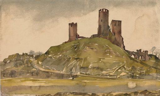 Grafika przedstawiająca ruiny zamku w Chęcinach wykonana w limitowanej edycji w technice giclée na podstawie rysunku artysty: HENRYK DĄBROWSKI