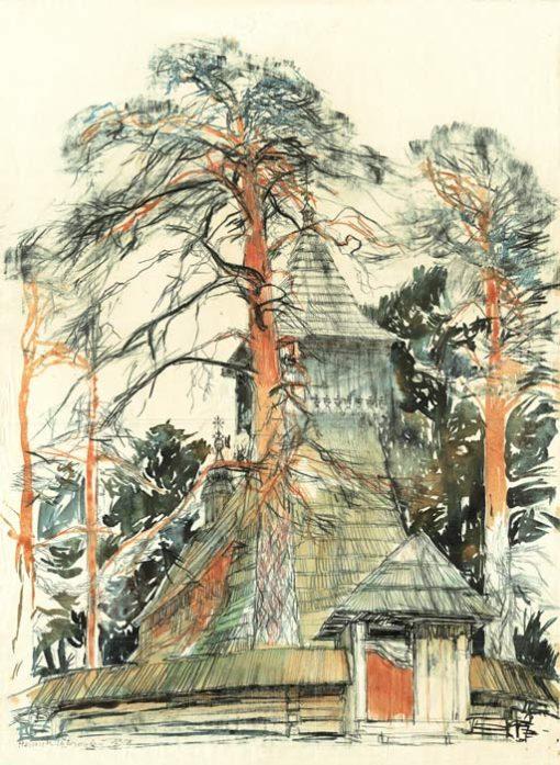 Grafika przedstawiająca Dębno na Podhalu - Kościół Michała Archanioła