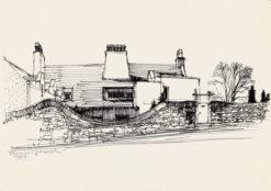 Grafika przedstawiająca dom Mackinstosha w Szkocji wykonana w limitowanej edycji w formacie zmniejszonym w technice giclée na podstawie rysunku artysty: HENRYK DĄBROWSKI