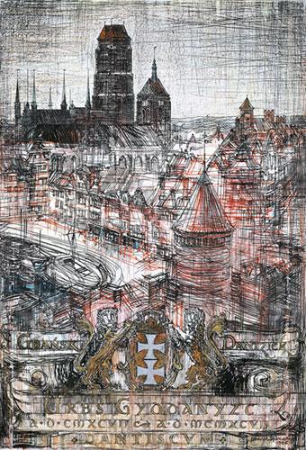Grafika przedstawiająca   panoramę Gdańska z bazyliką Mariacką i herbem miasta wykonana w limitowanej edycji w formacie oryginalnym w technice giclée na podstawie rysunku artysty: HENRYK DĄBROWSKI