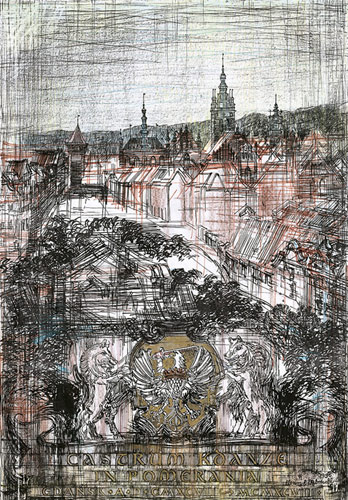 Grafika przedstawiająca widok na Stare Miasto w Gdańsku i herb wykonana w limitowanej edycji w formacie oryginalnym w technice giclée na podstawie rysunku artysty: HENRYK DĄBROWSKI