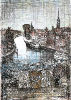 Grafika przedstawiająca widok na Motławę z żurawiem w Gdańsku
