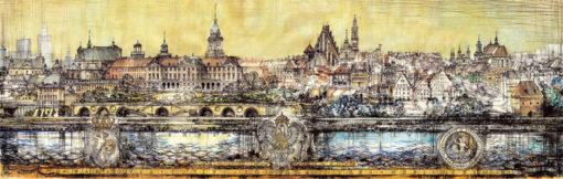Grafika przedstawiająca panoramę na Stare Miasto w Warszawie