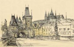 Grafika przedstawiająca widok na Most Karola i Hradczany w Pradze