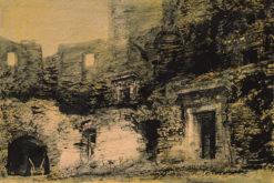 Grafika przedstawiająca ruiny zamku w Janowcu wykonana w limitowanej edycji w technice giclée na podstawie rysunku artysty: HENRYK DĄBROWSKI