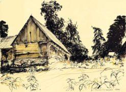 Grafika przedstawiająca Kalinówka Kościelna - spichlerz drewniany