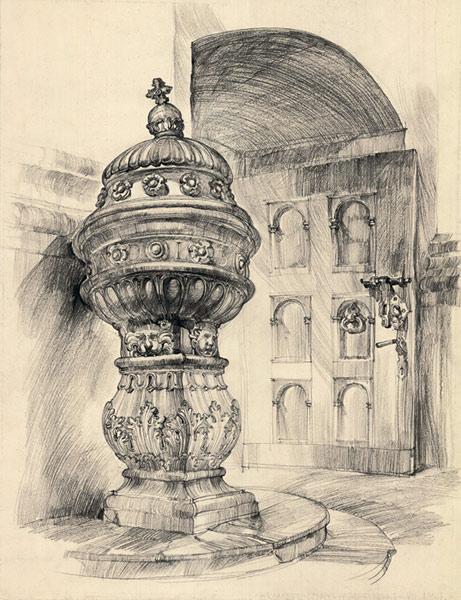 Grafika przedstawiająca kamienną chrzcielnicę w kościele farnym w Kazimierzu Dolnym wykonana w limitowanej edycji w technice giclée na podstawie rysunku artysty: HENRYK DĄBROWSKI