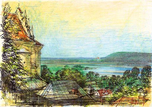 Grafika przedstawiająca panoramę doliny Wisły w Kazimierzu Dolnym