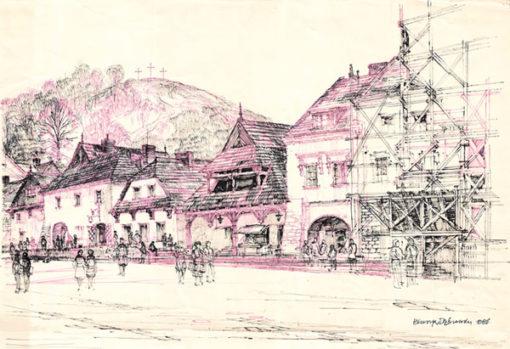 Grafika przedstawiająca panoramę rynku i widok na Górę Krzyżową w Kazimierzu Dolnym
