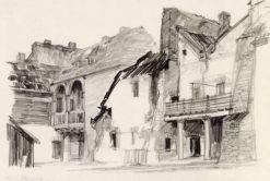 Grafika przedstawiająca Kazimierz Dolny - zaplecze ulicy Senatorskiej