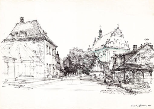 Grafika przedstawiająca Kazimierz Dolny - ulica Lubelska