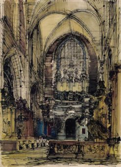 Grafika przedstawiająca Kraków - kościół Bożego Ciała