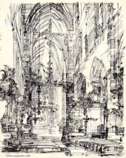 Grafika przedstawiająca Kraków - kościół Mariacki