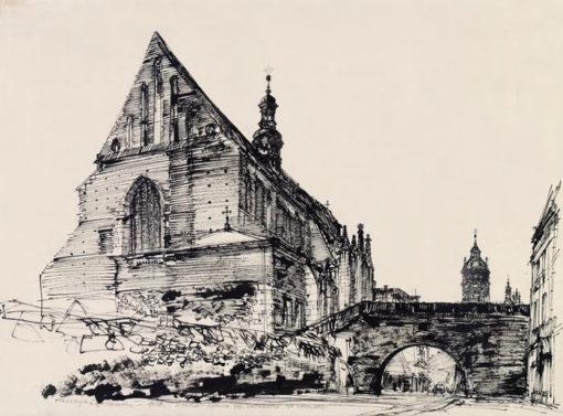 Grafika przedstawiająca Kraków - Kościół św. Katarzyny