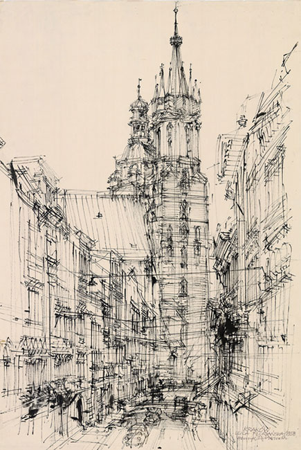 Grafika przedstawiająca ulicę Floriańską z kościołem Mariackim w Krakowie