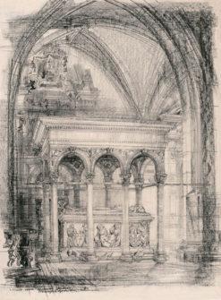 Grafika przedstawiająca sarkofag Władysława Jagiełły w katedrze na Wawelu w Krakowie