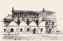 Grafika przedstawiająca Starą Synagogę w Krakowie wykonana w limitowanej edycji w formacie oryginalnym w technice giclée na podstawie rysunku artysty: HENRYK DĄBROWSKI