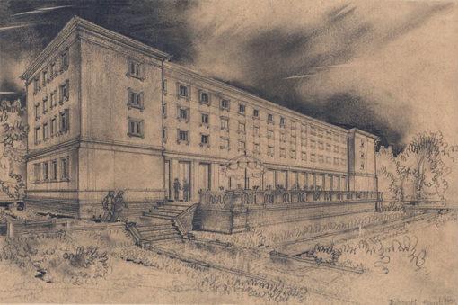 Grafika przedstawiająca budynek w dzielnicy Muranów w Warszawie