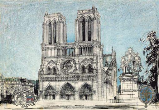Grafika przedstawiająca katedrę Notre Dame w Paryżu wykonana w limitowanej edycji w zmniejszonym formacie w technice giclée na podstawie rysunku artysty: HENRYK DĄBROWSKI