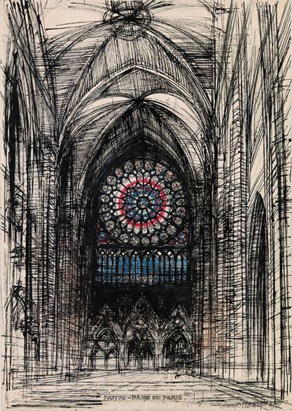 Grafika przedstawiająca Łuk Triumfalny Saint Denis w Paryżu wykonana w limitowanej edycji w zmniejszonym formacie w technice giclée na podstawie rysunku artysty: HENRYK DĄBROWSKI