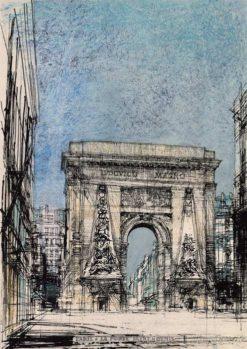 Grafika przedstawiająca Łuk Triumfalny Saint Denis w Paryżu wykonana w limitowanej edycji w niewielkim formacie w technice giclée na podstawie rysunku artysty: HENRYK DĄBROWSKI