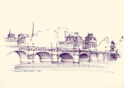Grafika przedstawiająca widok na Paryż - Pont Neuf