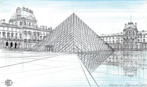 Grafika przedstawiająca Piramidę na dziedzińcu Luwru w Paryżu wykonana w limitowanej edycji w formacie oryginalnym w technice giclée na podstawie rysunku artysty: HENRYK DĄBROWSKI