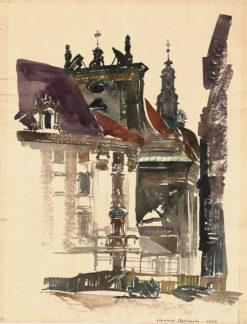 Grafika przedstawiająca Poznań - kościół Jezuitów wykonana w limitowanej edycji w formacie oryginalnym w technice giclée na podstawie rysunku artysty: HENRYK DĄBROWSKI