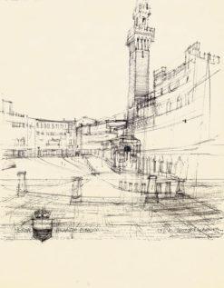 Grafika przedstawiająca Palazzo Publico w Sienie wykonana w limitowanej edycji w formacie zmniejszonym w technice giclée na podstawie rysunku artysty: HENRYK DĄBROWSKI