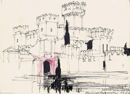 Grafika przedstawiająca twierdzę w Sirmione - Rocca Scaligera wykonana w limitowanej edycji w formacie oryginalnym w technice giclée na podstawie rysunku artysty: HENRYK DĄBROWSKI