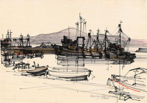 Grafika przedstawiająca port w Sozopolu wykonana w limitowanej edycji w formacie zmniejszonym w technice giclée na podstawie rysunku artysty: HENRYK DĄBROWSKI