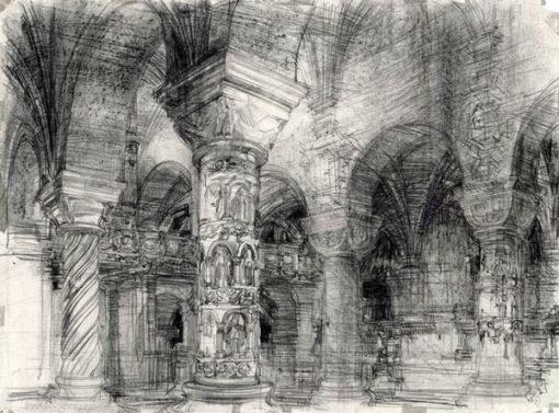 Grafika przedstawiająca wnętrze kościoła Świętej Trójcy (romańskie kolumny w krypcie) w Strzelnie