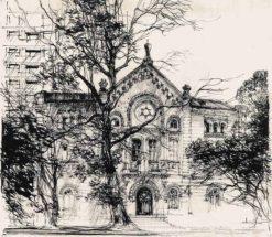 Grafika przedstawiająca Synagogę Nożyków w Warszawie