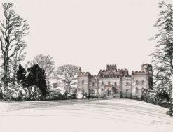 Grafika przedstawiająca zamek w Edynburgu w Szkocji wykonana w limitowanej edycji w formacie oryginalnym w technice giclée na podstawie rysunku artysty: HENRYK DĄBROWSKI