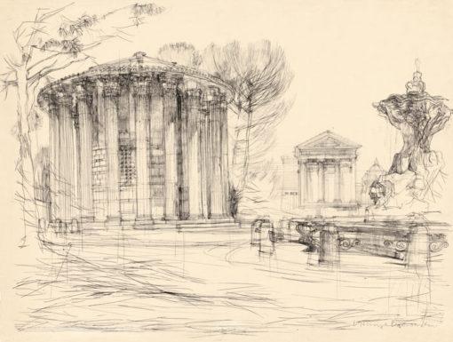Grafika przedstawiająca świątynię Vesty w Rzymie wykonana w limitowanej edycji w  formacie zmniejszonym w technice giclée na podstawie rysunku artysty: HENRYK DĄBROWSKI