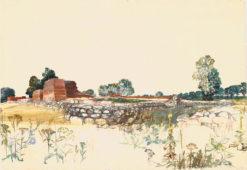 Grafika przedstawiająca panoramę Tykocina wykonana w limitowanej edycji w formacie zmniejszonym w technice giclée na podstawie rysunku artysty: HENRYK DĄBROWSKI