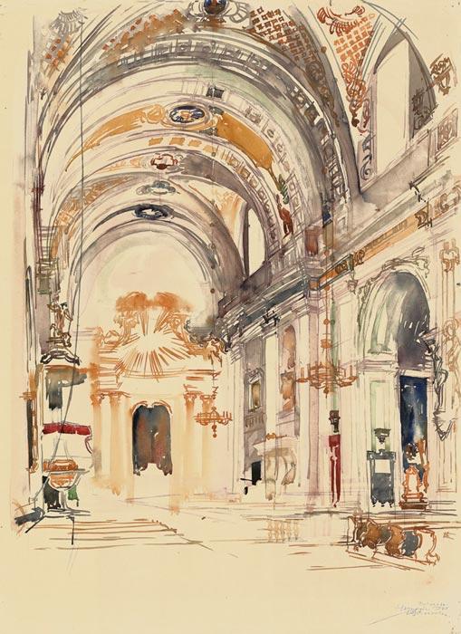 Grafika przedstawiająca wnętrze kościoła św. Trójcy w Tykocinie wykonana w limitowanej edycji w technice giclée na podstawie rysunku artysty: HENRYK DĄBROWSKI