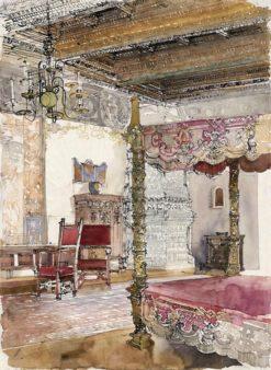 Grafika przedstawiająca sypialnię gości królewskich na Wawelu w Krakowie