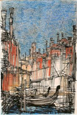 Grafika przedstawiająca widok na gondole w Wenecji wykonana w limitowanej edycji w formacie oryginalnym w technice giclée na podstawie rysunku artysty: HENRYK DĄBROWSKI