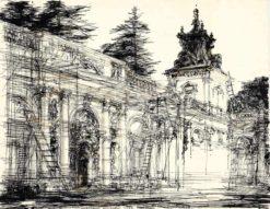 Grafika przedstawiająca pałac w Wilanowie w Warszawie