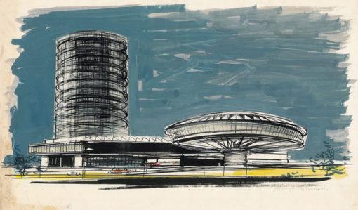 Grafika przedstawiająca wizję architektoniczną - spodek
